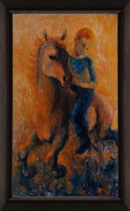 Walnut stain hard-wood picture frame Figure Riding Horse by Norman Leibovitz oil on canvas