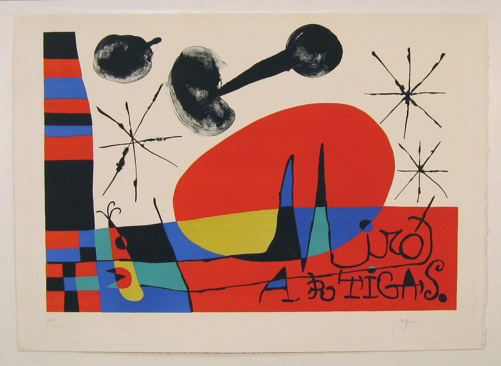 Joan Miro Lithograph After Recovery and Conservation from Water Damage