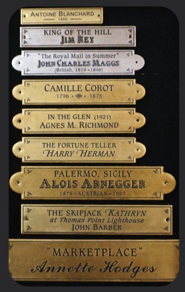 Engraved fine art nameplates, artist nameplates, nameplates for artwork, gilded